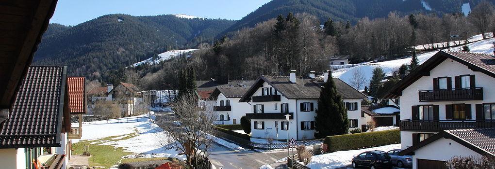 Aussicht vom Balkon im Gästehaus Hibler in Bad Kohlgrub